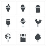 Sweets and ice cream icon set Royalty Free Stock Photos