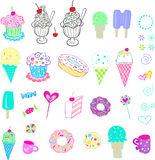 Sweets and ice cream set Stock Images