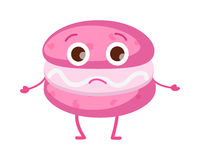 Sweets. Icon of Isolated Pink Unhappy Macaroon Royalty Free Stock Image
