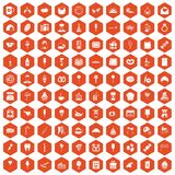 100 sweets icons hexagon orange. 100 sweets icons set in orange hexagon isolated vector illustration Royalty Free Stock Photos
