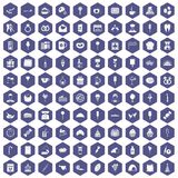 100 sweets icons hexagon purple. 100 sweets icons set in purple hexagon isolated vector illustration Stock Photography