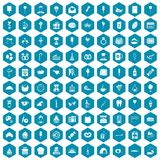100 sweets icons sapphirine violet. 100 sweets icons set in sapphirine hexagon isolated vector illustration Stock Photos