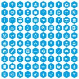 100 sweets icons set blue. 100 sweets icons set in blue hexagon isolated vector illustration Vector Illustration