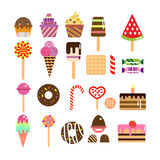Sweets icons set in flat style. Food set. Stock Images