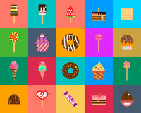 Sweets icons set in flat style. Food set. Stock Image