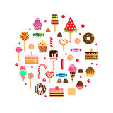 Sweets icons set in flat style. Food set. Royalty Free Stock Photo