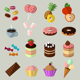 Sweets icons set in flat style Stock Photo