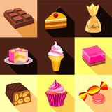 Sweets icons set, flat style Stock Images