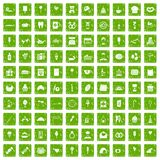 100 sweets icons set grunge green. 100 sweets icons set in grunge style green color isolated on white background vector illustration royalty free illustration