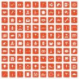 100 sweets icons set grunge orange. 100 sweets icons set in grunge style orange color isolated on white background vector illustration Royalty Free Stock Photography