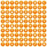 100 sweets icons set orange. 100 sweets icons set in orange circle isolated on white vector illustration Royalty Free Illustration