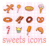 Sweets icons set, vector illustration Royalty Free Stock Images