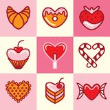 Sweets icons vector set Royalty Free Stock Images