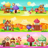 Sweets Landscape Banners Set. Colorful horizontal banners set with cartoon world landscapes and houses made of candies and sweets vector illustration Royalty Free Stock Image