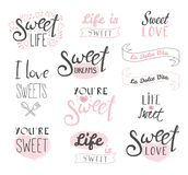 Sweets, life and love typography Stock Photo