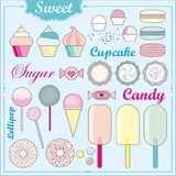 Sweets. A lot of cute sweets and candies at a blue background Stock Photography