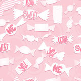 Sweets with love ords.Seamless background. Royalty Free Stock Photography