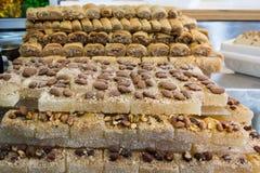 Machane Yehudah Market in Jerusalem. Sweets at Machane Yehudah Market in Jerusalem Stock Photography