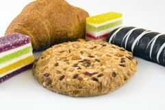 Sweets. marmalade, croissant, shortbread and chocolate chip cookies royalty free stock photography