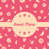 Sweets menu cover with seamless vector pattern Royalty Free Stock Photos