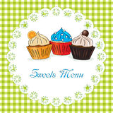 Sweets menu vector illustration Royalty Free Stock Images