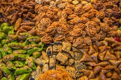 Sweets on the moroccan market Stock Photos