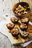 Sweets with nuts and caramel. Homemade sweets with nuts, raisins and caramel. Oriental traditional cuisine. Selective focus Royalty Free Stock Photo
