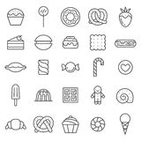 Sweets outline gray icons vector set. Minimalistic design. Stock Photos
