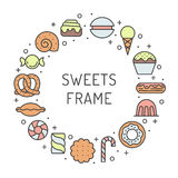 Sweets outline multicolored circle frame. Modern minimalistic design (part two). Royalty Free Stock Photos