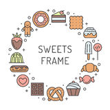 Sweets outline multicolored circle frame. Modern minimalistic design. Royalty Free Stock Image