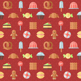 Sweets outline multicolored cute vector seamless pattern. Minimalistic design. Part one. Stock Image