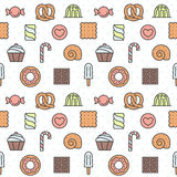 Sweets outline multicolored cute vector seamless pattern. Minimalistic design. Part two. Royalty Free Stock Image