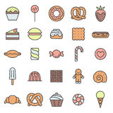 Sweets outline multicolored icons vector set. Modern minimalistic design. Stock Images