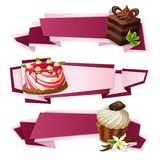 Sweets paper banners. Decorative sweets food paper banners set with layered cake panna cotta vanilla muffin dessert isolated vector illustration Stock Photo