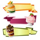 Sweets paper banners. Decorative sweets food paper banners set with raspberry cream citrus jelly dessert isolated vector illustration Royalty Free Stock Images