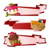 Sweets paper banners. Decorative sweets food paper banners set with raspberry pudding pancakes cup cake dessert isolated vector illustration Stock Images