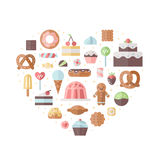 Sweets and pastries flat vector heart illustration. Sweets and pastries flat style vector heart illustration Royalty Free Stock Photos