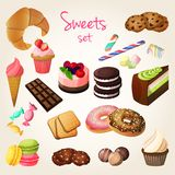 Sweets and pastry set. Delicious sweets and fresh pastry set of croissant ice cream cookies isolated vector illustration Stock Photos