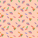 Sweets pattern. Seamless background decorated different colors of sweets stock illustration
