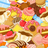 Sweets pattern. Seamless pattern with sweets and pastries Royalty Free Stock Images