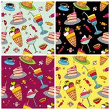 Sweets pattern set stock illustration