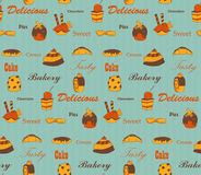 Sweets pattern. Vintage pies seamless background, EPS10 vector image Stock Photos