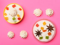 Sweets on pink background Royalty Free Stock Photos