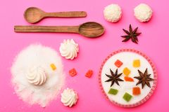 Sweets on pink background Stock Photography