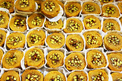 Sweets with pistachios in market of Istanbul, Turkey Stock Photos