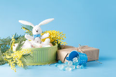 Sweets present in box with white rabbit Royalty Free Stock Photography