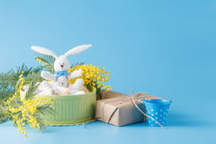 Sweets present in box with white rabbit Royalty Free Stock Images