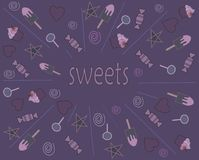 Sweets on a purple background. Textures and backgrounds. Pattern.  royalty free illustration