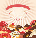 Sweets with radial stripes on beige Stock Images