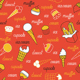Sweets on a red background Royalty Free Stock Images